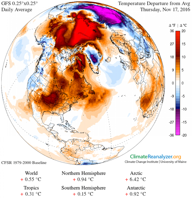 Northern Hemisphere temperature anomaly, 17 November 2016. Arctic temperatures are about 20 degrees Celsius higher than normal, above 80 degrees North Latitude. Graphic: ClimateReanalyzer.org