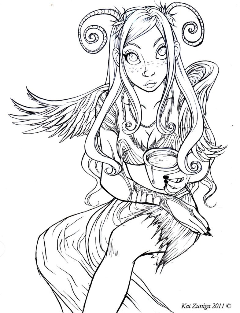 Best Dark Fairy Coloring Pages Free
