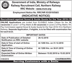 Northern Railway Scout and Guide Quota 2018-19 indgovtjobs