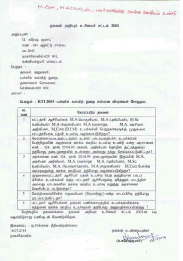 RTI-M.A. Economice முடித்த ஆசிரியர் ஊக்க ஊதிய பெறலாம் - RTI தகவல்