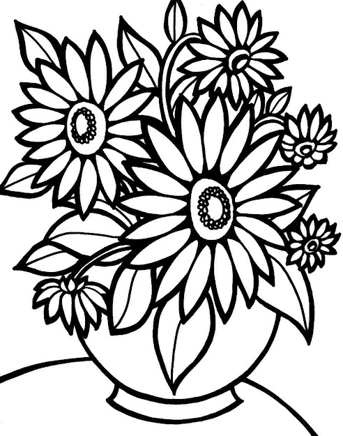 Easy Flower Bouquet Drawings  Cute Coloring Pages Draw Easy Flowers Draw Flowers  Coloring Page