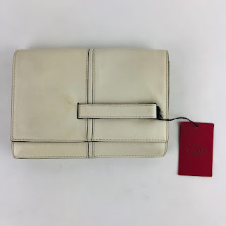 Valentino White Leather Panel Pocket Clutch Bag