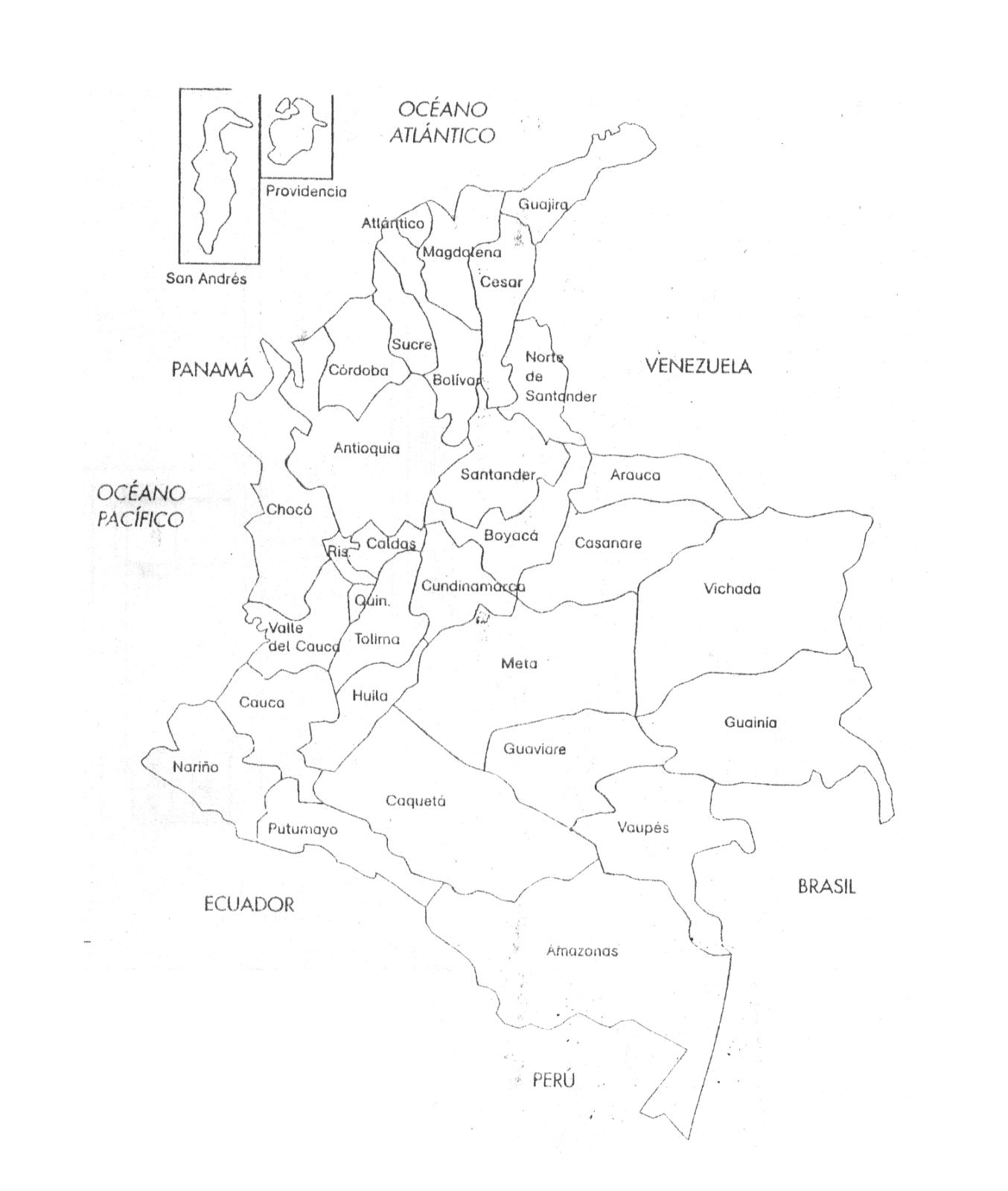 Mapa politico de Colombia con sus departamentos y Capitales blanco y negro3