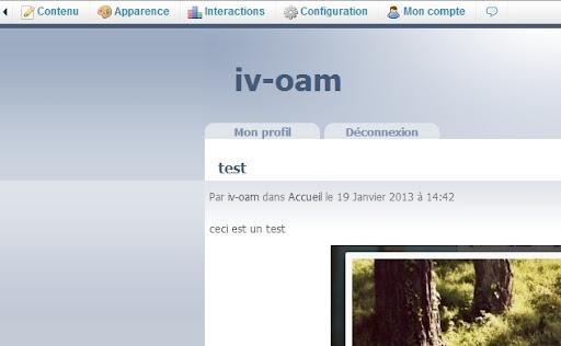 Le blog est géré en utilisant le menu en haut du blog même (uniquement visible par le blogueur)