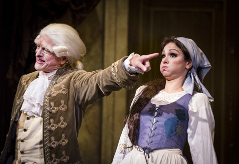 IN REVIEW: Bass-baritone DONALD HARTMANN as Don Magnifico (left) and mezzo-soprano SANDRA PIQUES EDDY as Angelina (right) in Greensboro Opera's production of Gioachino Rossini's LA CENERENTOLA, August 2015 [Photo © by Artisan Images/David Wilson, used with permission]