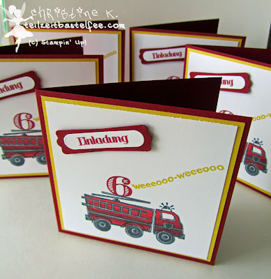 stampin up, fire truck, feuerwehrauto, you're my hero, invite, kid's birthday, kindergeburtstag, einladung