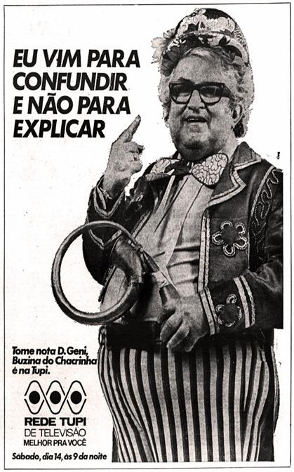 anuncio rede Tupi - programa do Chacrinha - 1976