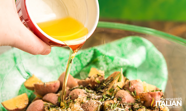 air fryer potatoes with oil poured over top