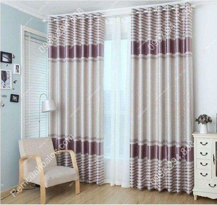 Rèm cửa đẹp cao cấp một màu tím nhạt  2