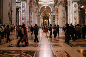 The long interior of St. Peter's Basilica
