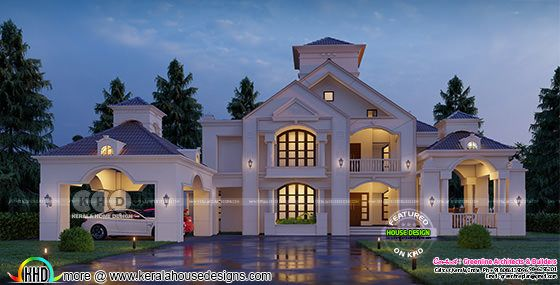 Colonial home in grand front view