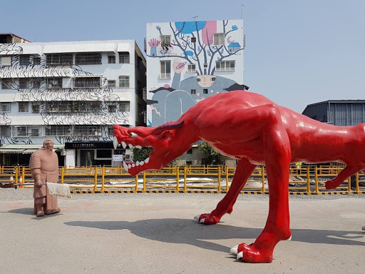 Scary red monster at Pier-2 Art Center in Kaohsiung