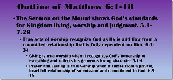 Outline of Matthew 6.1-18