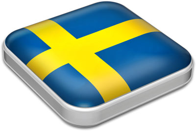 Flag of Sweden with metallic square frame