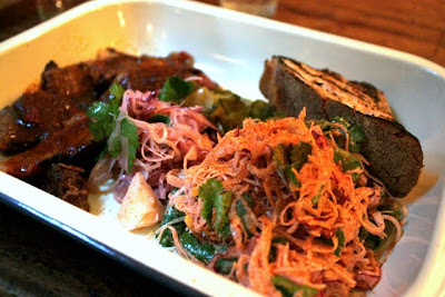 Brisket and chipotle slaw at Pitt Cue restaurant in London England