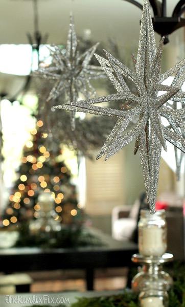 Glittered Silver Christmas Stars