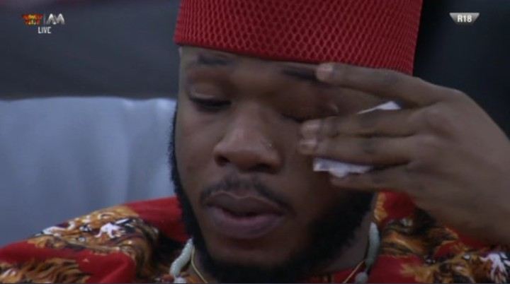 Frodd who seems to be the most entertaining Big Brother Naija housemate for the 'Pepper Dem Gang' cries again as he escaped eviction. Tuoyo is the fifth housemate to be evicted after Kim Oprah, Ella, Avala and Isilomo.
