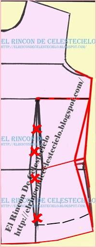 Marcando con líneas cortadas la medida para eliminar la pinza vertical en patrón delantero