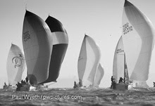 J/109 sailboats- sailing downwind at Hamble Winter Series