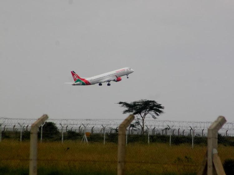 Kenya Airways plane at JKIA.