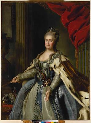 Portrait of Empress Catherine the Great, née Princess Sophie of Anhalt-Zerbst, Fyodor Rokotov (?), 1780s, State Hermitage Museum, Saint Petersburg, Russia.