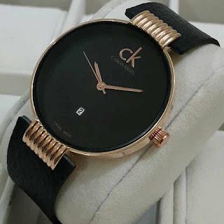 jam tangan CK kulit tgl M RoseGold