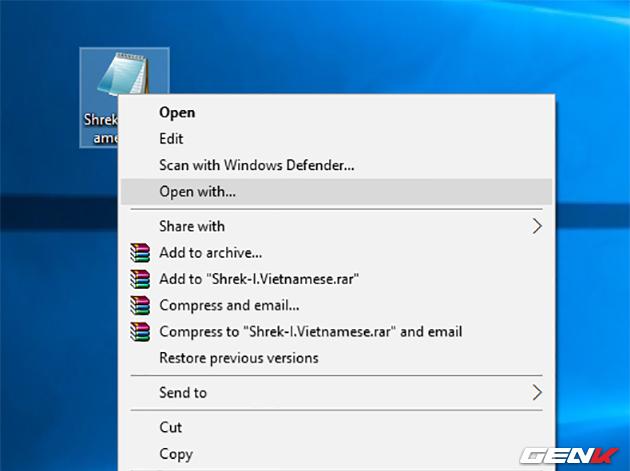 Chọn Open With... và chọn ứng dụng Notepad để xem nội dung file này.