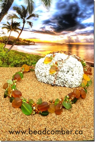 amber and green sea glass