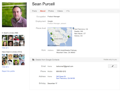 Google+ Profil mit Google Contacts