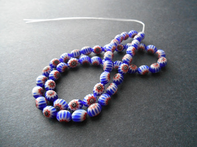 Blue Millefiori Beads