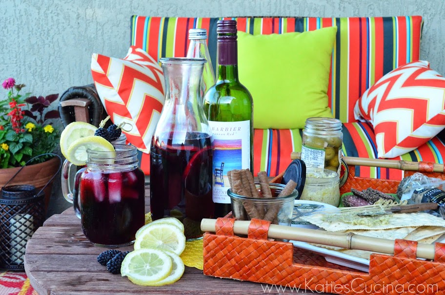 Summer Entertaining with World Market and a recipe for Blackberry Pomegranate Sangria via KatiesCucina.com