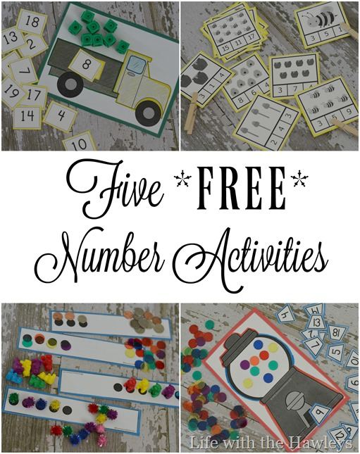 Five Free Number Activities- Life with the Hawleys