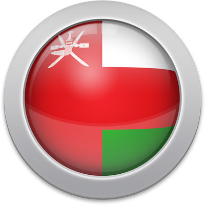 Omani flag icon with a silver frame