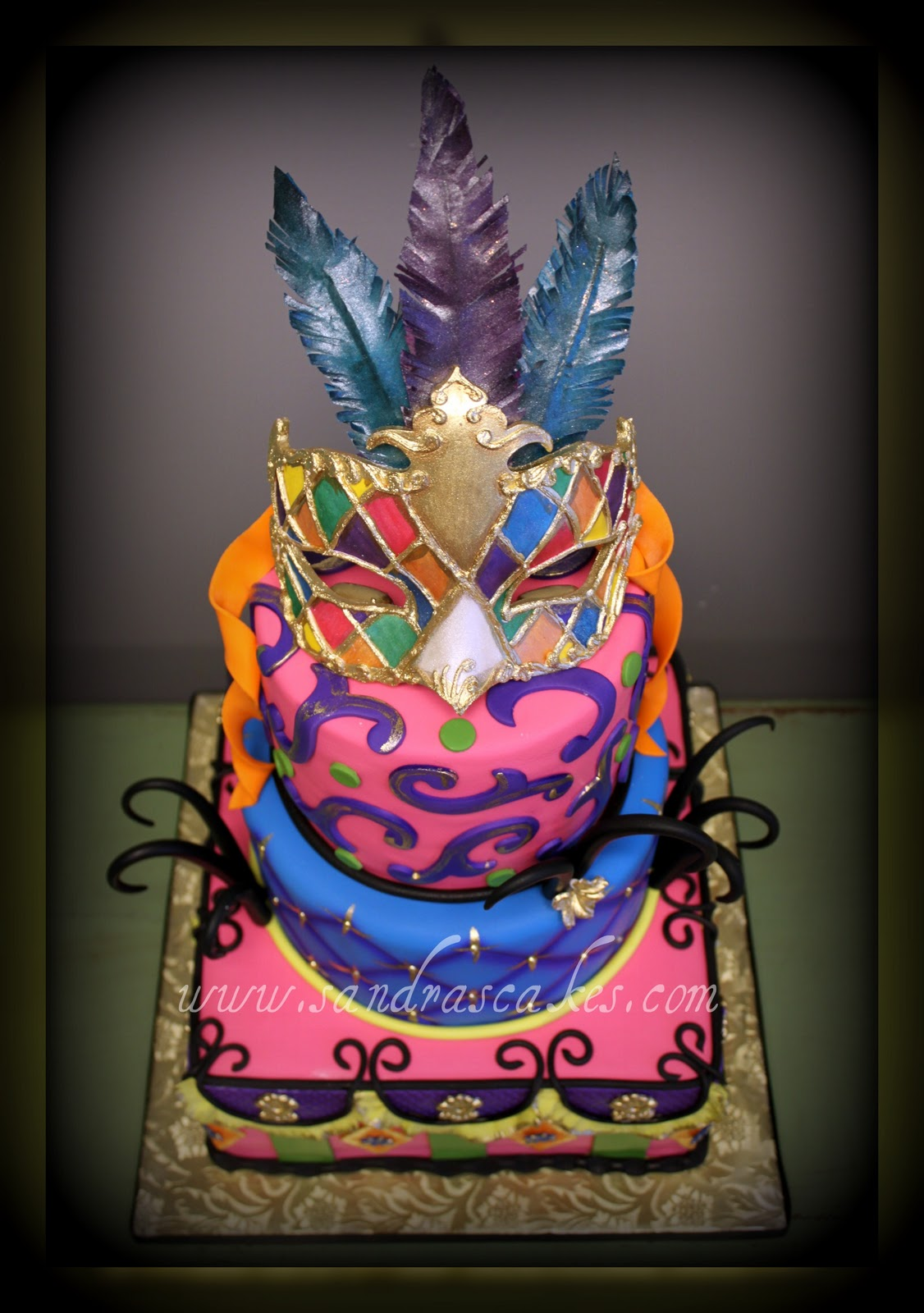 Beautiful Venetian Masquerade Birthday Cake