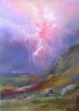 Irion łowca, olej, płótno, 50 x 70 cm