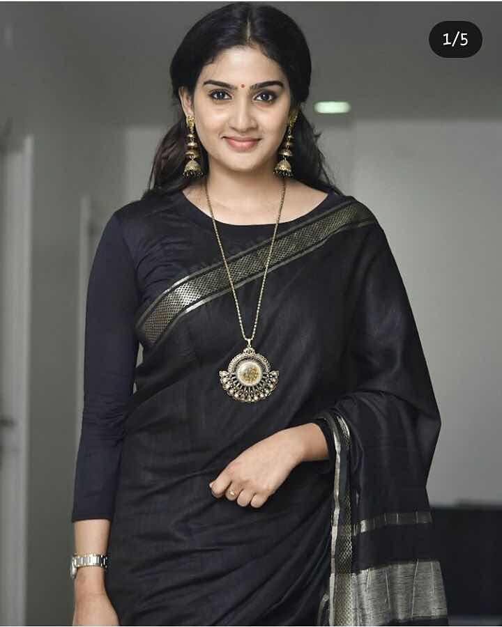 Indian Actress in Black Transparent Saree Navel Queens