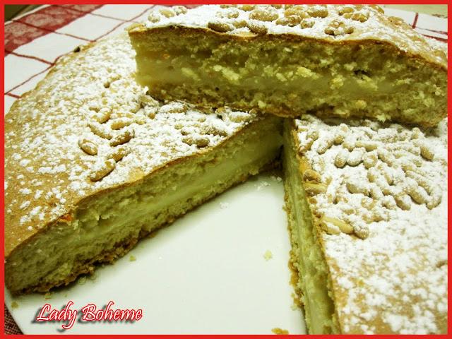 hiperica di lady boheme blog di cucina, ricette facili e veloci. Ricetta torta casereccia alla crema con pinoli