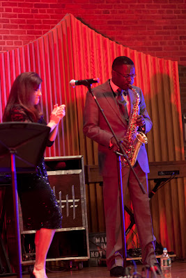 Nikki Armstrong of New Milford with Rave Tesar on sax.Photos by TOM HART/  TomHartPhoto.com.