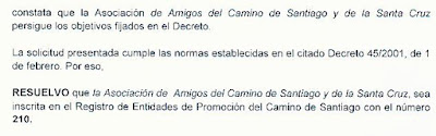 Reconocimiento como Entidad Promotora del Camino de Santiago