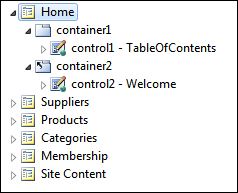 Hierarchy of pages in Project Explorer of Code On Time app builder.