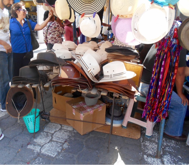 Hats in a market