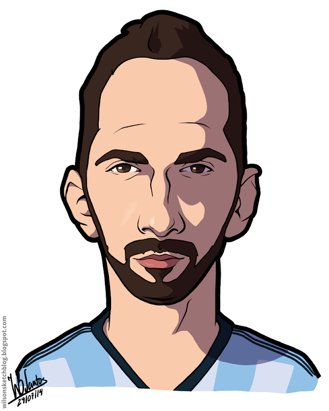 Cartoon caricature of Gonzalo Higuaín.