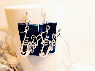 Saxophone earring set by Felicianation on Zibbet