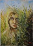 Córka Ziemi, olej, płótno, szpachla, 50/70 cm, własność prywatna