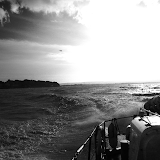 Monochrome version of the view from the ALB, courtesy of Dave Riley.  7 January 2014.  Photo credit: Anne Millman/RNLI Poole