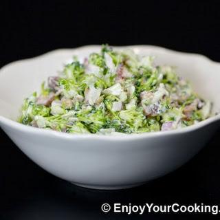 Fresh Broccoli Salad with Raisins and Sunflower Seeds.