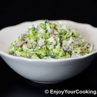 Fresh Broccoli Salad with Raisins and Sunflower Seeds.