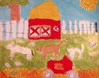 Acrylic Farm Painting by Tia