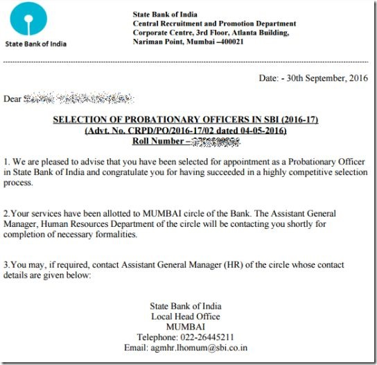 Sbi Po Recruitment  Final Results Out With Job Location Orders
