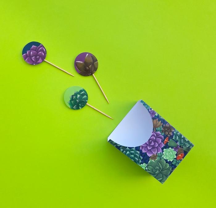 bolsillo para comida, sobre, toppers, picnic, fiesta de té de jardín, suculentas, plantas, estampado, ilustración, descarga gratuita, imprimible gratuito